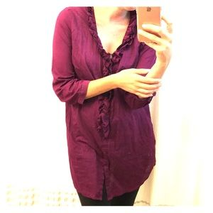 Loft Mulberry Button Up w/ Ruffle Paper Thin